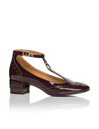 PATENT LEATHER PERRY T BAR PUMP 45MM
