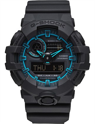 G SHOCK DUO SIDE EDGE SERIES,BLK CASE & BAND, BLUE ACC