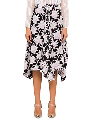 FLOWER PRINT MIDI RUFFLED SKIRT IN SILK