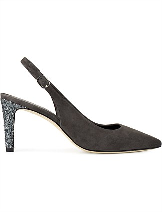 AZUKA SLING BACK WITH GLITTER HEEL