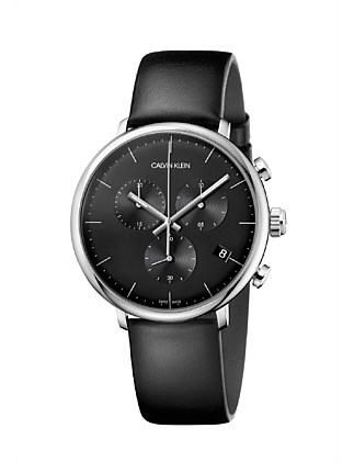 CK high noon chronograph polished SS case black dial 43mm
