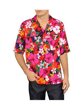 Floral Print S/S Shirt W/ Camp Collar