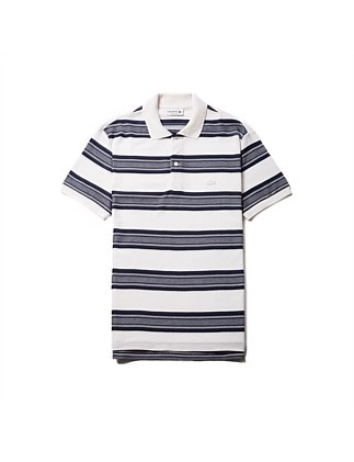 Mens Ss Ribbed Striped Polo