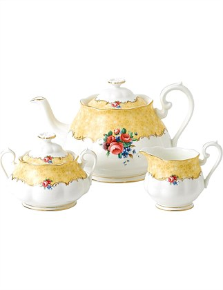 Royal Albert 100 Years 1990 Teapot, Cream & Sugar