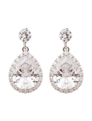LARGE CZ TEARDROP EARRING WITH SURROUND