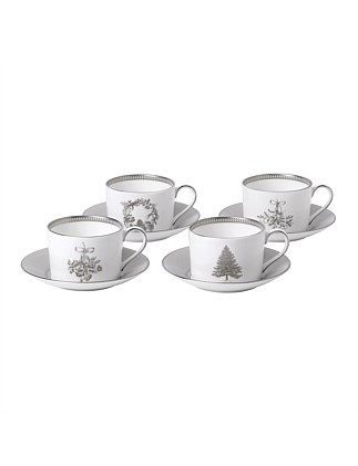Christmas Teacup & Saucer Set of 4