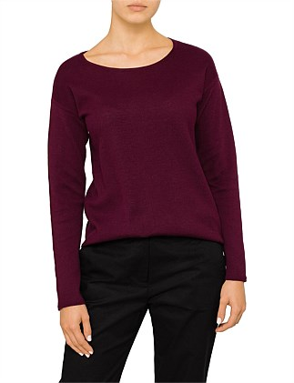Curved Hem Cotton Pullover