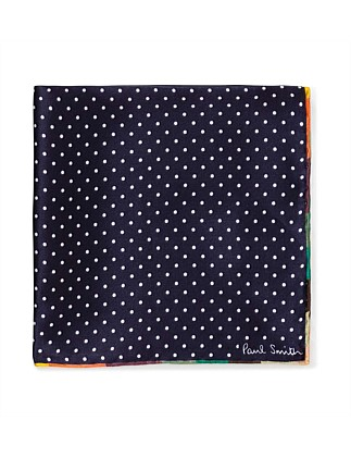 SPOT W/STRIPE BORDER POCKET SQUARE