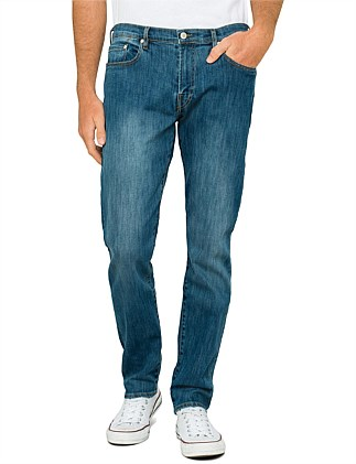 Tapered Light Washed Stretch Denim Jean