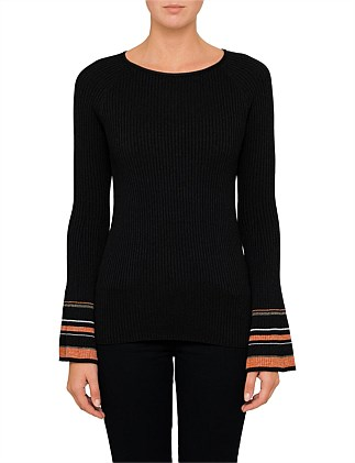 Immay 10205723 01 KNIT TOP WITH STRIPE SLEEVE HEMS