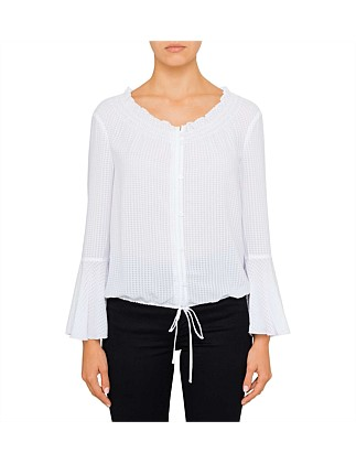 White Drawstring Hem Detail Top ...