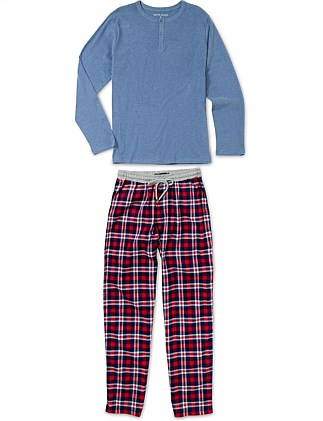 LS TEE AND FLANNEL PANTS