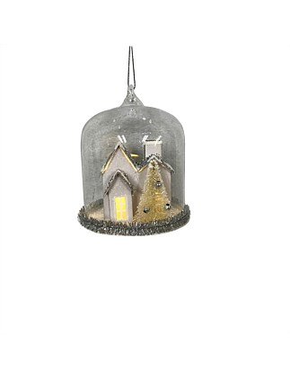 Ornament Glass Cloche With House Inside