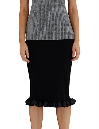 Ribbon Fringe Ribbed Skirt