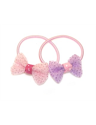 Sparkle Chiffon Bow Small Ponyrtails.