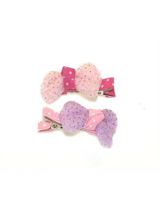 Sparkle Chiffon Bow Small Clips.