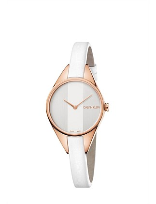 CK rebel lady polished rose gold silver dial 29mm