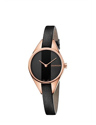 CK rebel lady polished rose gold PVD case black dial 29mm