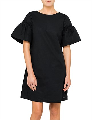 Fluted Sleeve Cotton Dress