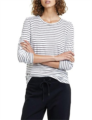 Long Sleeve Linen Stripe T-Shirt