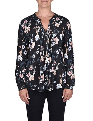 Long Sleeve Botanical Pintuck Shirt