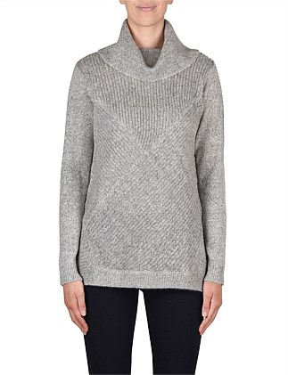 Long Sleeve Cowl Neck Shaker