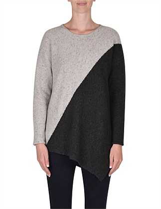 Long Sleeve Diagonal Fleck Pull Over