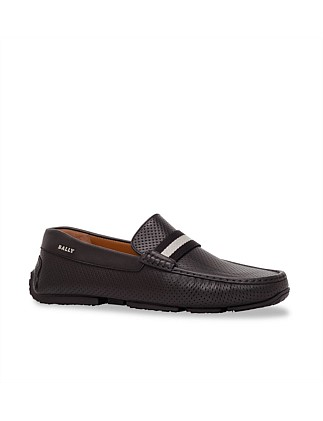PILOT PERFERATED DRIVING SHOE WITH BALLLY STRIPE RIBBON