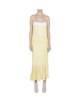 WAFFLED HEM DRAPED LONG DRESS