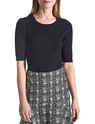 Jacquard Cable Knit Top