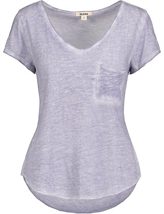 Raw Edge Pocket V-Neck T-Shirt
