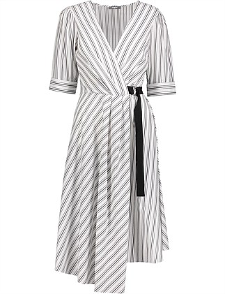 9e07c50390c9 Striped Asymmetric Wrap Dress Special Offer