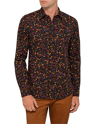Tailored Fit Cotton Bright Floral Printed L/S Shirt