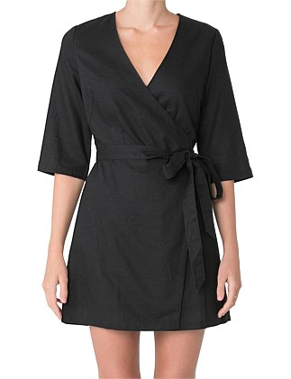 MERCER LINEN WRAP DRESS
