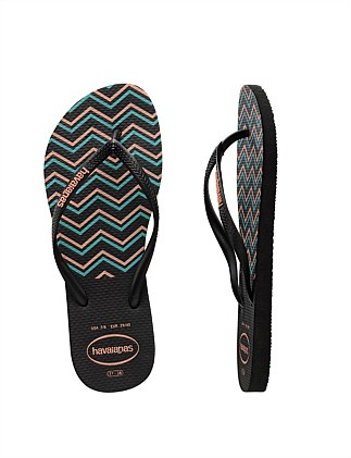 Kids Slim Zig Zag Black/Salmon