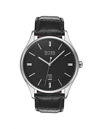 Gents Governor Qtz SS Rnd Blk Dial Blk Leather Strap