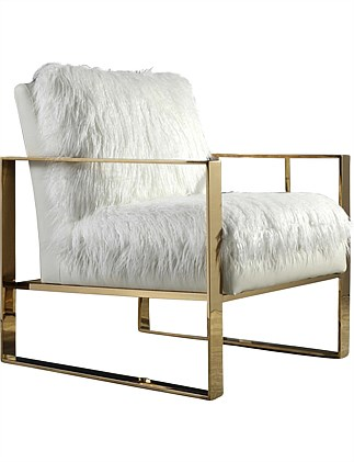 'Delphine' Accent Chair - White Faux Sherling