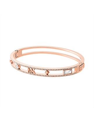 Flower Power Rose Gold Tone Hinged Bangle