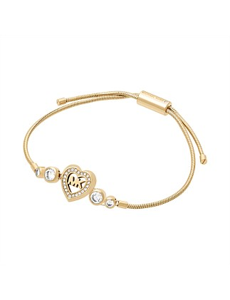 Love is in The Air Gold Tone Slider Bracelet