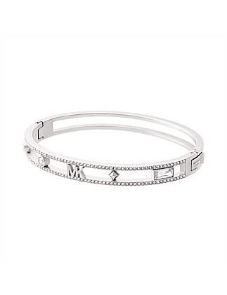 Flower Power Silver Tone Hinged Bangle