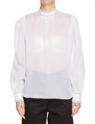 Voile Gathered Sleeve Shirt