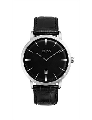Gents Tradition Qtz SS Rnd Blk Dial Blk Leather Strap