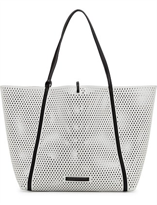 CUT OUT TOTE WITH BLUE SHOULDER STRAP