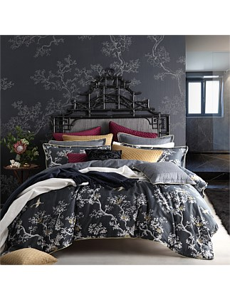 THE CRANES CHARCOAL QUILT COVER SET - KING BED