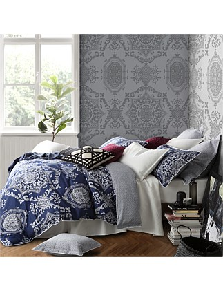 MEDALLION INDIGO QUILT COVER SET - QUEEN BED