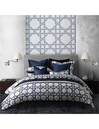 OCTAGONAL LATTICE INK QUILT COVER SET - KING BED