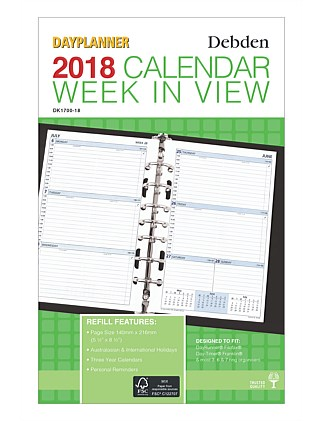 2018 Dayplanner Refill Desk Week To View