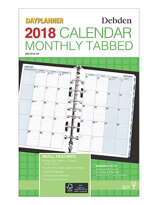 2018 Dayplanner Refill Desk Month To View With Tabs