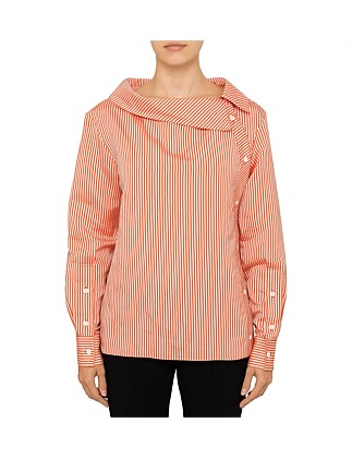 EILEEN BUTTON COLLAR STRIPE SHIRT