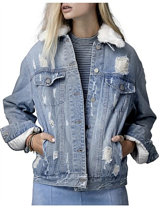 DENIM/FAKE FUR JACKET